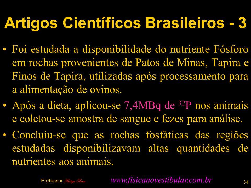 34 Foi estudada a disponibilidade do nutriente Fósforo em rochas provenientes de Patos de Minas, Tapira e Finos de Tapira, utilizadas após processamen
