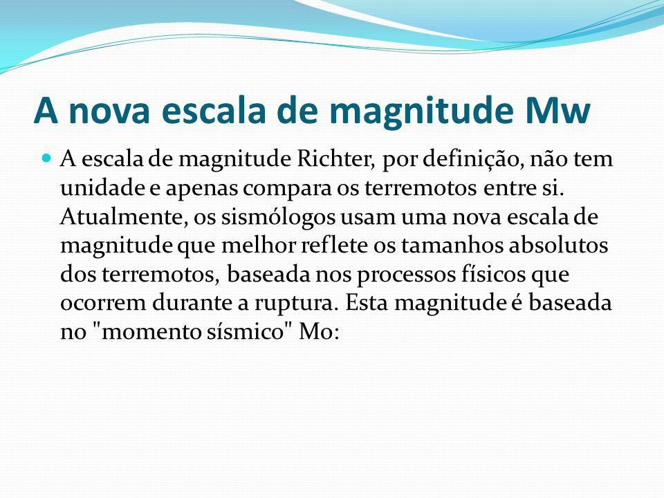A nova escala de magnitude Mw A escala de magnitude Richter, por definição, não tem unidade e apenas compara os terremotos entre si.