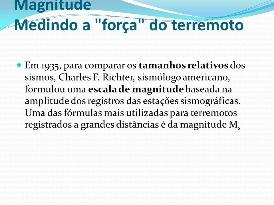 Magnitude Medindo a força do terremoto Em 1935, para comparar os tamanhos relativos dos sismos, Charles F.