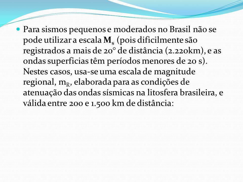 Para sismos pequenos e moderados no Brasil não se pode utilizar a escala M s (pois dificilmente são registrados a mais de 20° de distância (2.220km), e as ondas superficias têm períodos menores de 20 s).
