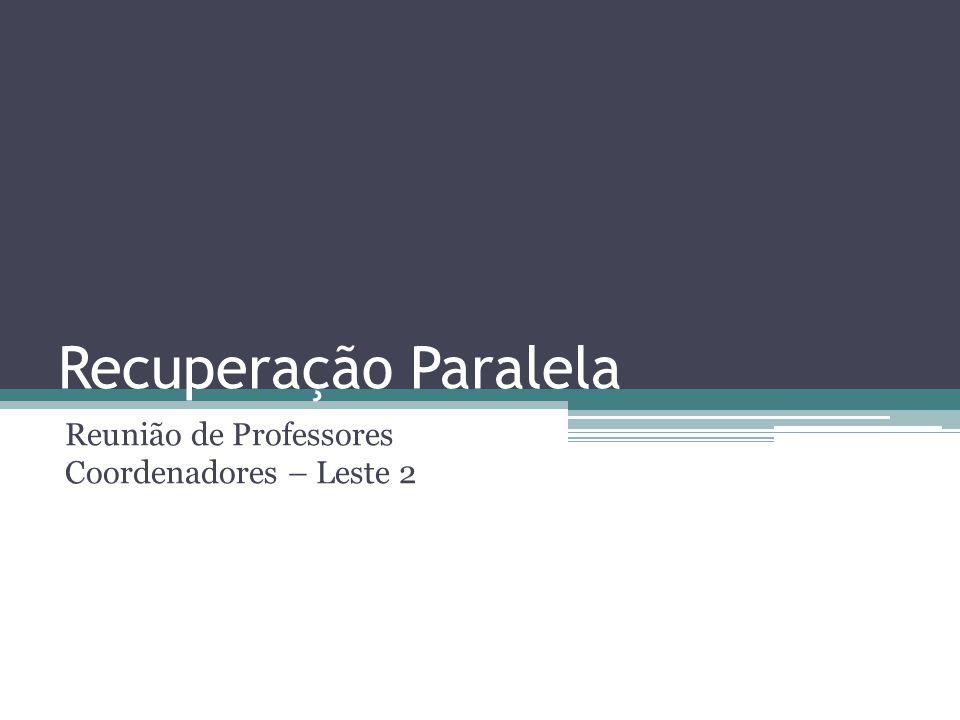 Recuperação Paralela Reunião de Professores Coordenadores – Leste 2
