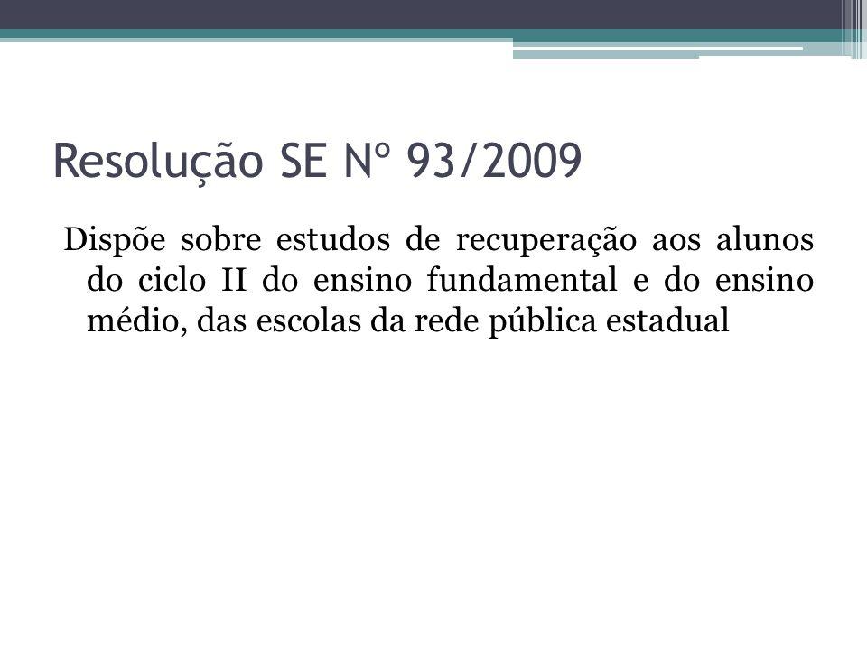 Resolução SE Nº 93/2009 Dispõe sobre estudos de recuperação aos alunos do ciclo II do ensino fundamental e do ensino médio, das escolas da rede públic