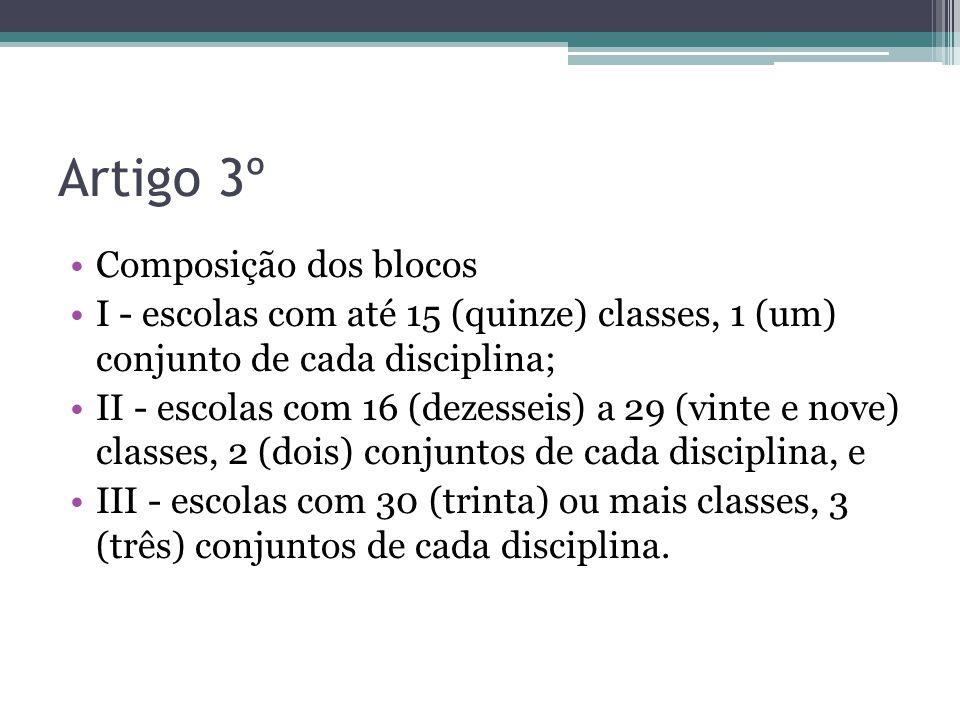 Artigo 3º Composição dos blocos I - escolas com até 15 (quinze) classes, 1 (um) conjunto de cada disciplina; II - escolas com 16 (dezesseis) a 29 (vin