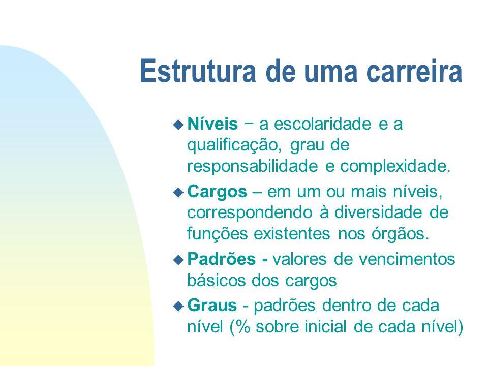 Estrutura de uma carreira u Níveis − a escolaridade e a qualificação, grau de responsabilidade e complexidade. u Cargos – em um ou mais níveis, corres
