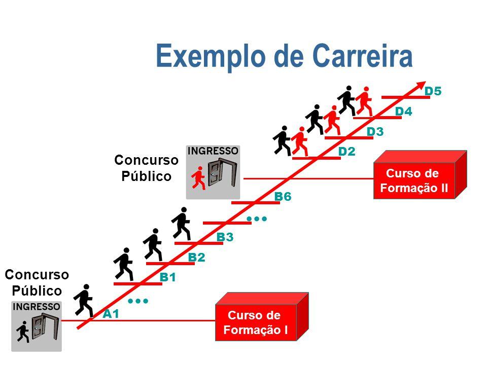 Exemplo de Carreira Curso de Formação I Curso de Formação II A1 B1 B2 B3... B6 D2 D3 D4 D5 Concurso Público Concurso Público...