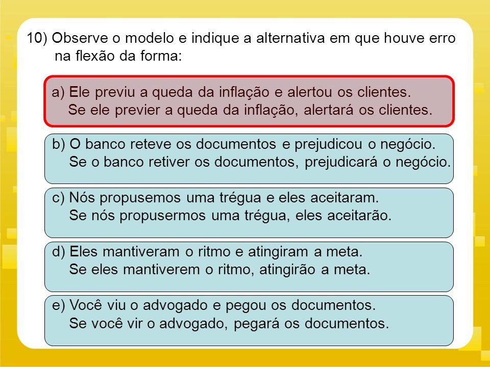 10) Observe o modelo e indique a alternativa em que houve erro na flexão da forma: a) Ele previu a queda da inflação e alertou os clientes. Se ele pre