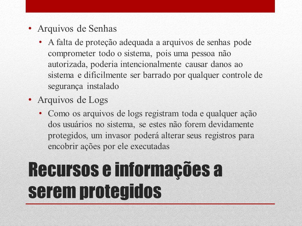 Recursos e informações a serem protegidos Arquivos de Senhas A falta de proteção adequada a arquivos de senhas pode comprometer todo o sistema, pois u