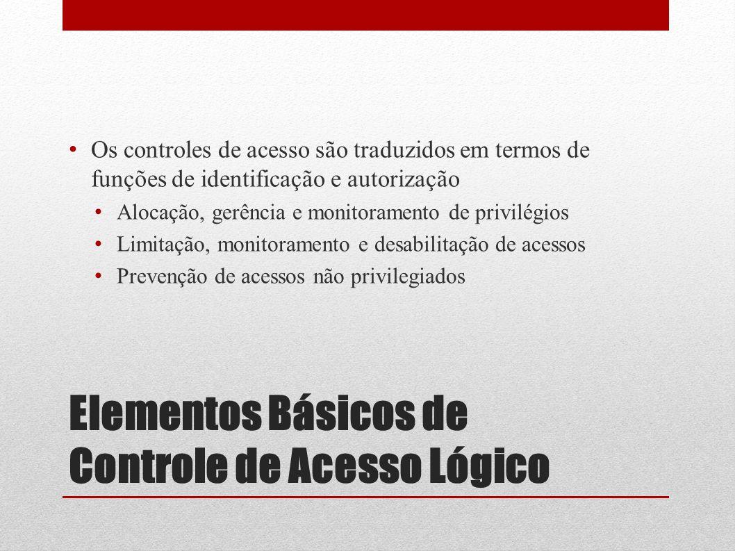 Elementos Básicos de Controle de Acesso Lógico Os controles de acesso são traduzidos em termos de funções de identificação e autorização Alocação, ger