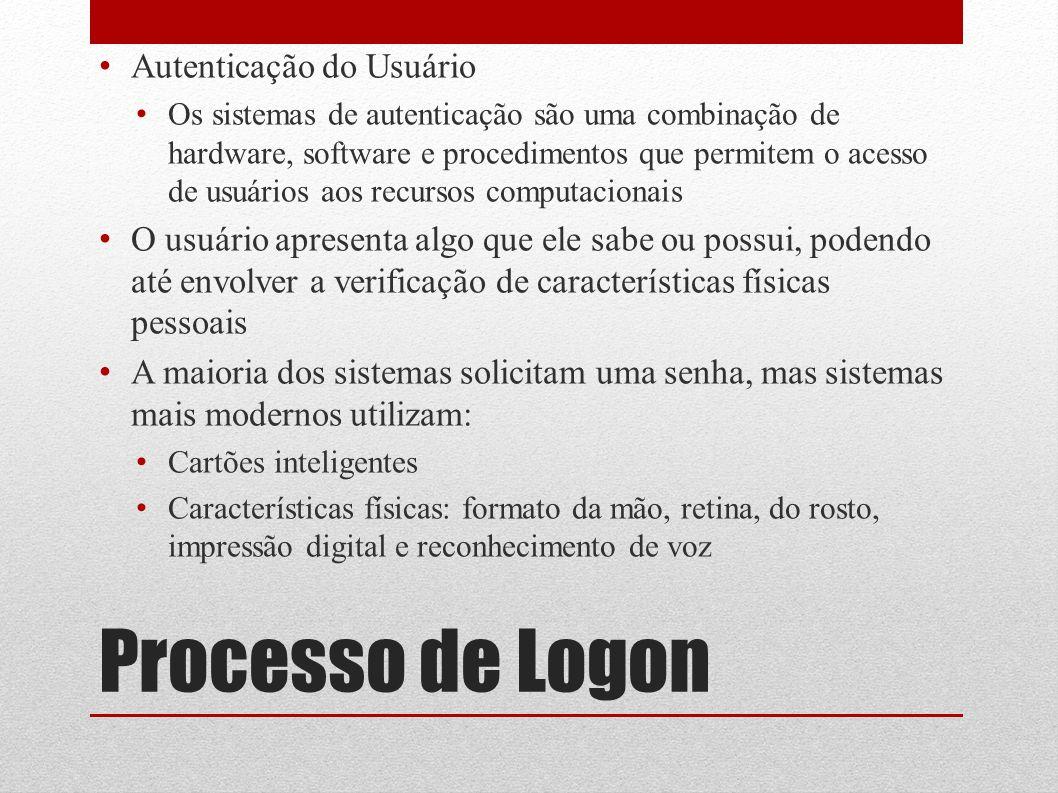 Processo de Logon Autenticação do Usuário Os sistemas de autenticação são uma combinação de hardware, software e procedimentos que permitem o acesso d