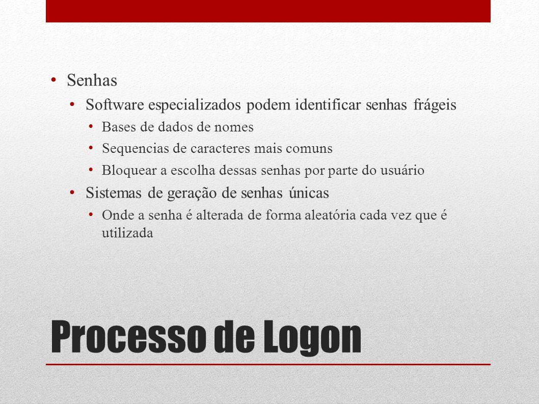 Processo de Logon Senhas Software especializados podem identificar senhas frágeis Bases de dados de nomes Sequencias de caracteres mais comuns Bloquea