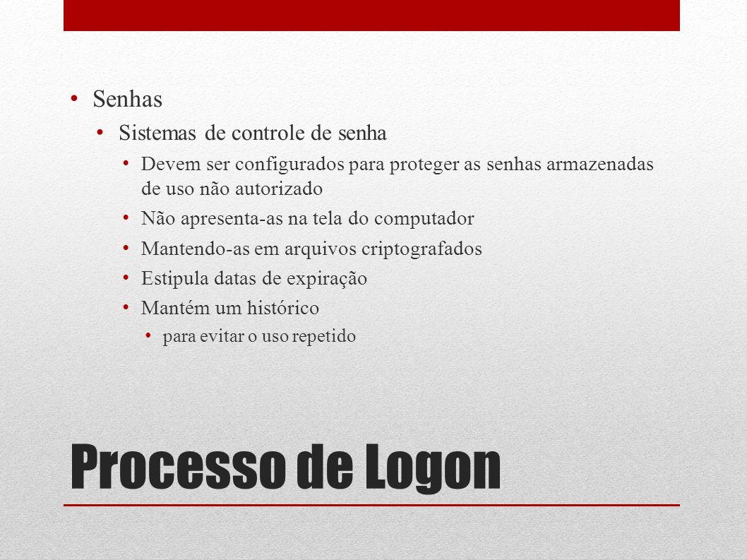 Processo de Logon Senhas Sistemas de controle de senha Devem ser configurados para proteger as senhas armazenadas de uso não autorizado Não apresenta-