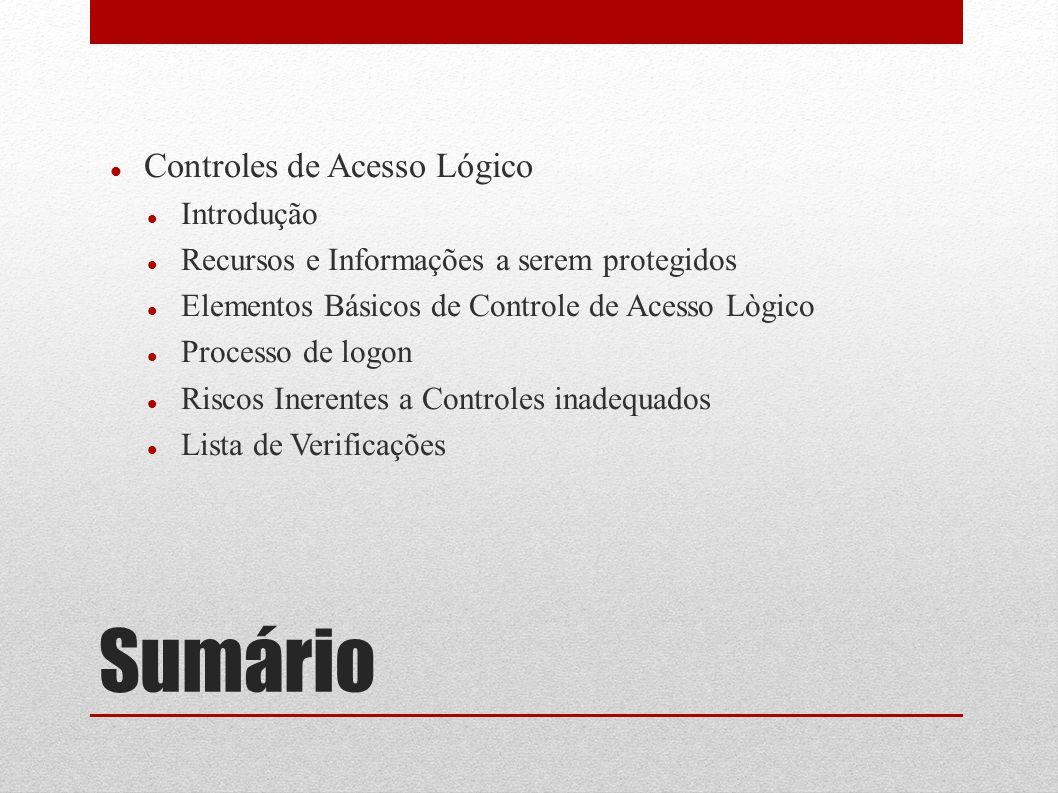 Sumário Controles de Acesso Lógico Introdução Recursos e Informações a serem protegidos Elementos Básicos de Controle de Acesso Lògico Processo de log