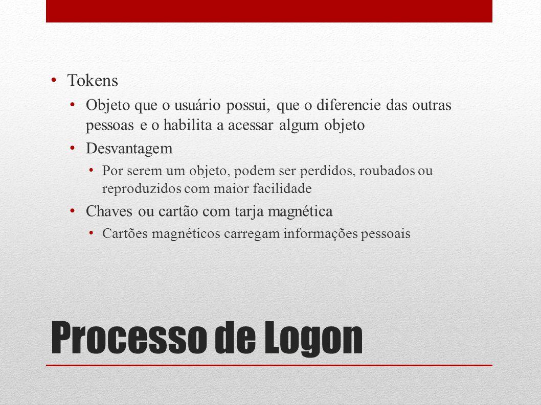 Processo de Logon Tokens Objeto que o usuário possui, que o diferencie das outras pessoas e o habilita a acessar algum objeto Desvantagem Por serem um