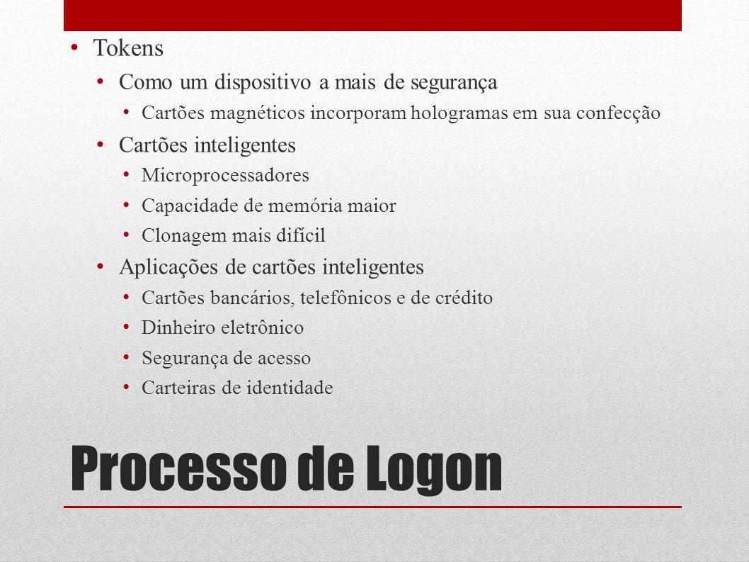 Processo de Logon Tokens Como um dispositivo a mais de segurança Cartões magnéticos incorporam hologramas em sua confecção Cartões inteligentes Microp