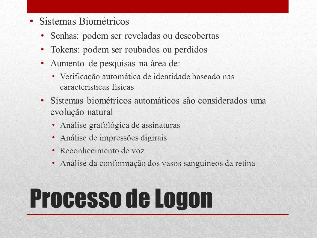 Processo de Logon Sistemas Biométricos Senhas: podem ser reveladas ou descobertas Tokens: podem ser roubados ou perdidos Aumento de pesquisas na área
