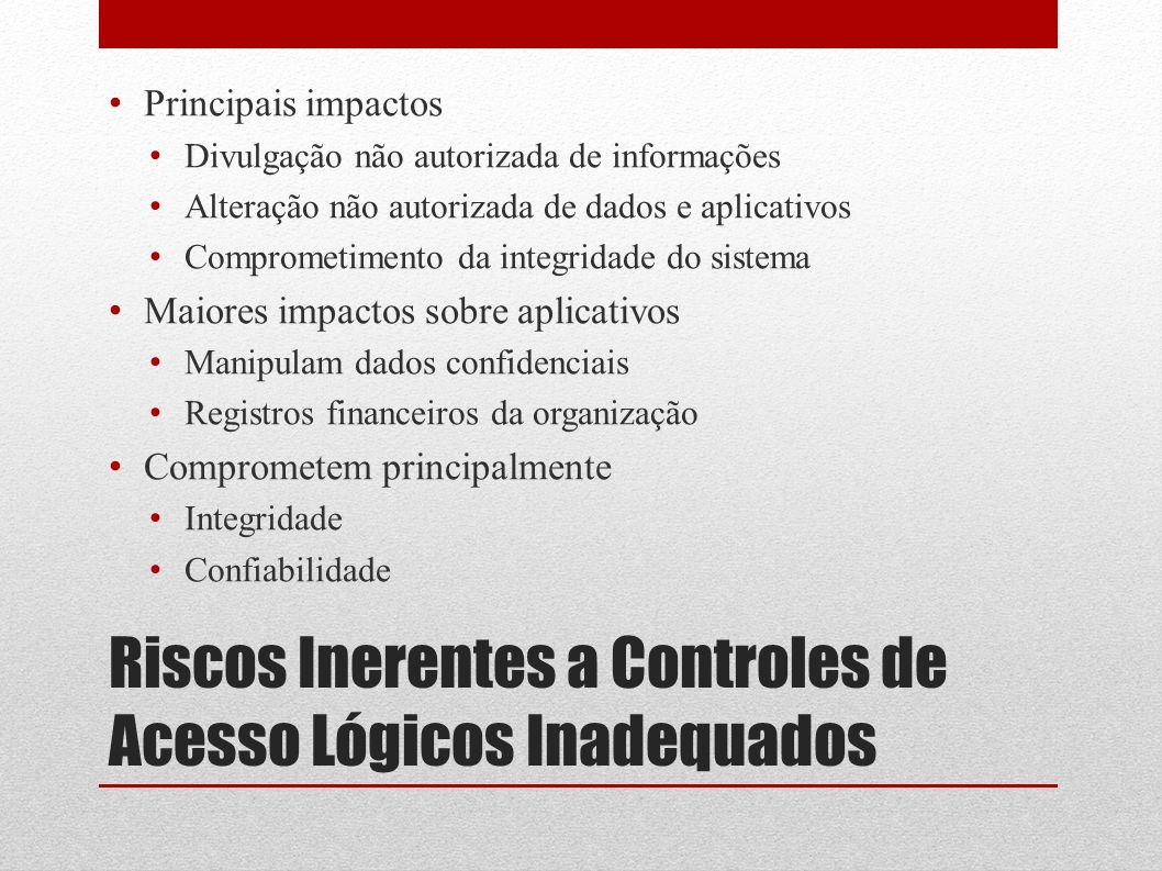 Riscos Inerentes a Controles de Acesso Lógicos Inadequados Principais impactos Divulgação não autorizada de informações Alteração não autorizada de da