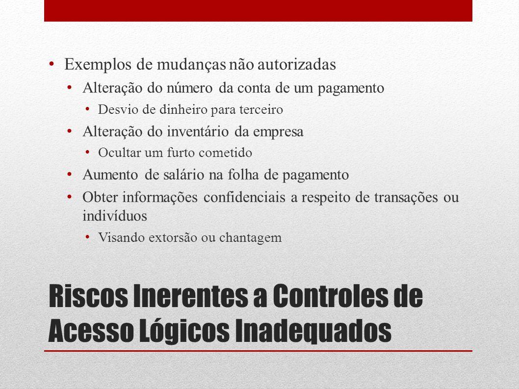 Riscos Inerentes a Controles de Acesso Lógicos Inadequados Exemplos de mudanças não autorizadas Alteração do número da conta de um pagamento Desvio de
