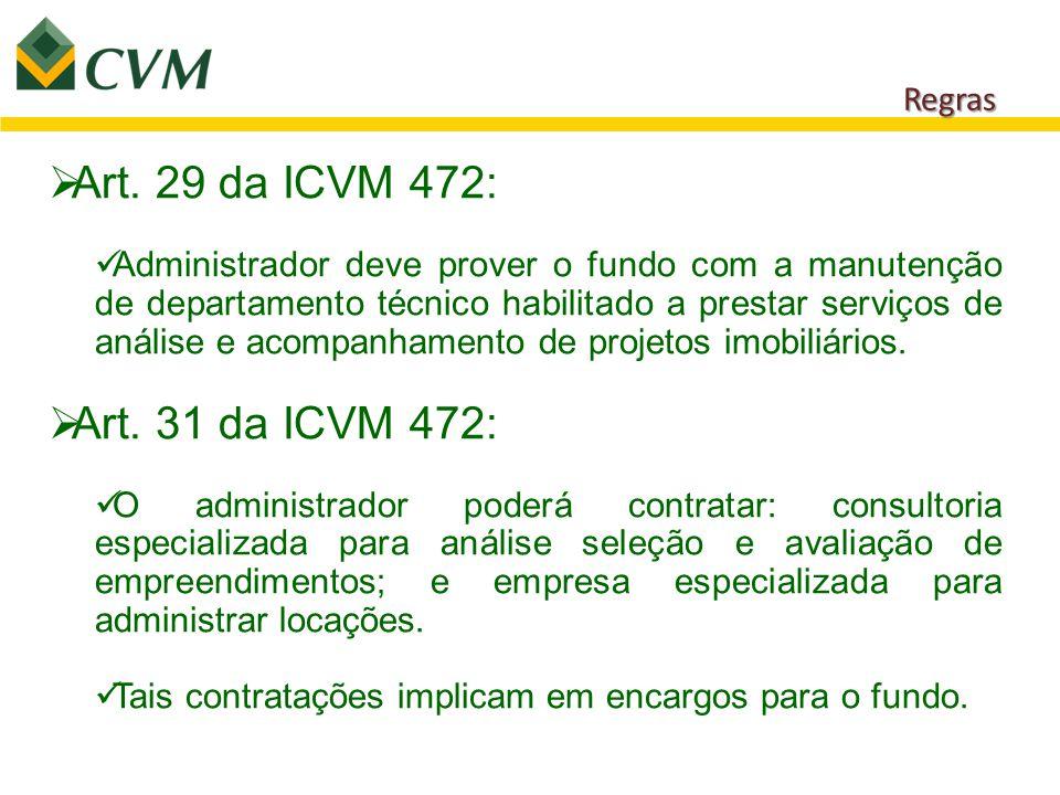 Regras  Art. 29 da ICVM 472: Administrador deve prover o fundo com a manutenção de departamento técnico habilitado a prestar serviços de análise e ac