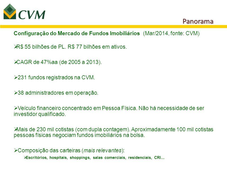 Panorama Configuração do Mercado de Fundos Imobiliários (Mar/2014, fonte: CVM)  R$ 55 bilhões de PL. R$ 77 bilhões em ativos.  CAGR de 47%aa (de 200