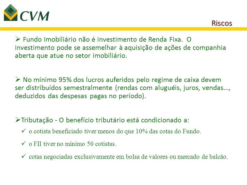 Riscos  Fundo Imobiliário não é investimento de Renda Fixa. O investimento pode se assemelhar à aquisição de ações de companhia aberta que atue no se