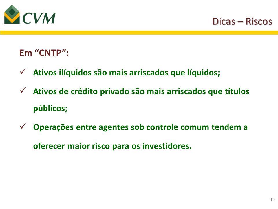 """Dicas – Riscos Em """"CNTP"""": Ativos ilíquidos são mais arriscados que líquidos; Ativos de crédito privado são mais arriscados que títulos públicos; Opera"""