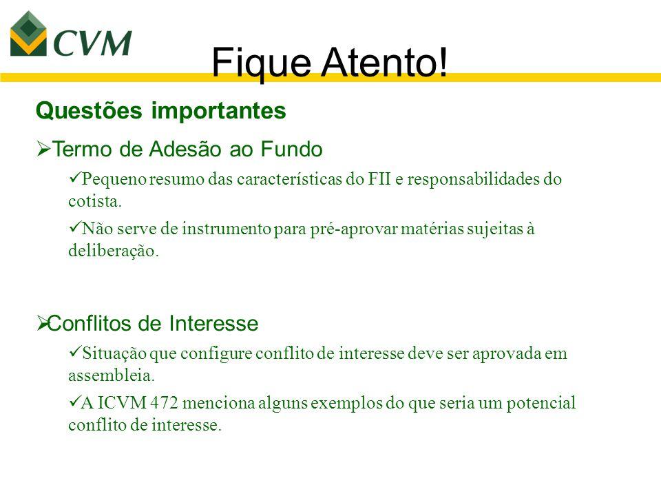 Fique Atento! Questões importantes  Termo de Adesão ao Fundo Pequeno resumo das características do FII e responsabilidades do cotista. Não serve de i