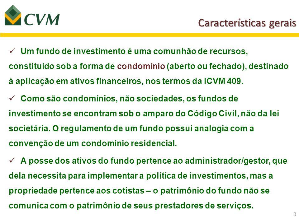 Características gerais Características gerais 3 Um fundo de investimento é uma comunhão de recursos, constituído sob a forma de condomínio (aberto ou