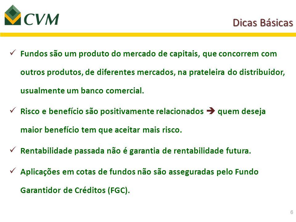 Dicas Básicas Fundos são um produto do mercado de capitais, que concorrem com outros produtos, de diferentes mercados, na prateleira do distribuidor,