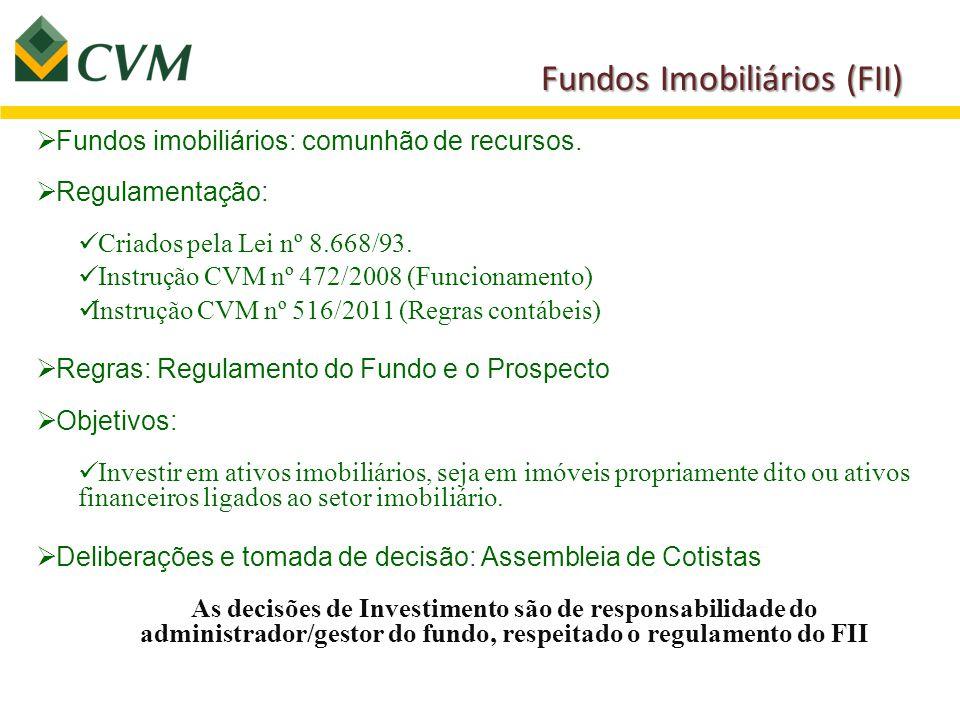 Fundos Imobiliários (FII)  Fundos imobiliários: comunhão de recursos.  Regulamentação: Criados pela Lei nº 8.668/93. Instrução CVM nº 472/2008 (Func