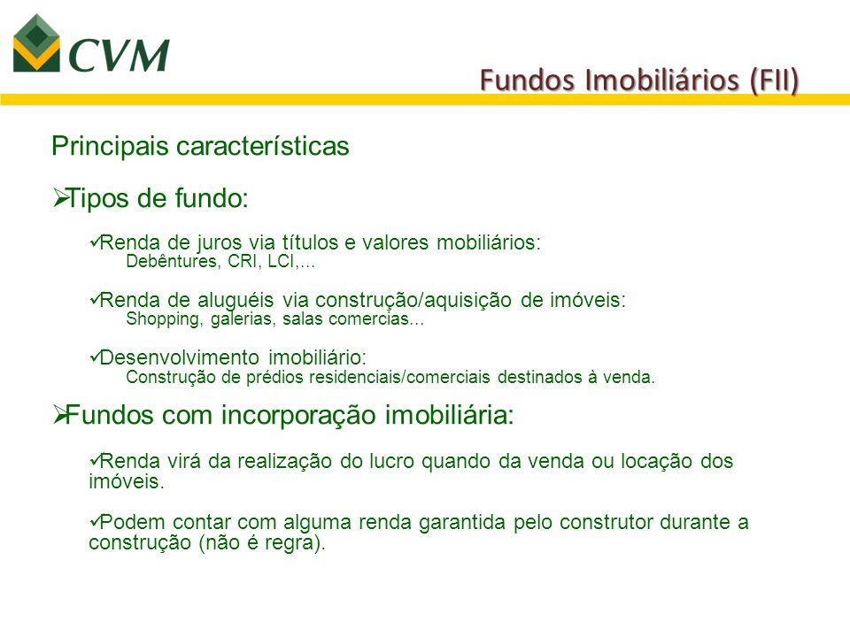 Fundos Imobiliários (FII) Principais características  Tipos de fundo: Renda de juros via títulos e valores mobiliários: Debêntures, CRI, LCI,... Rend