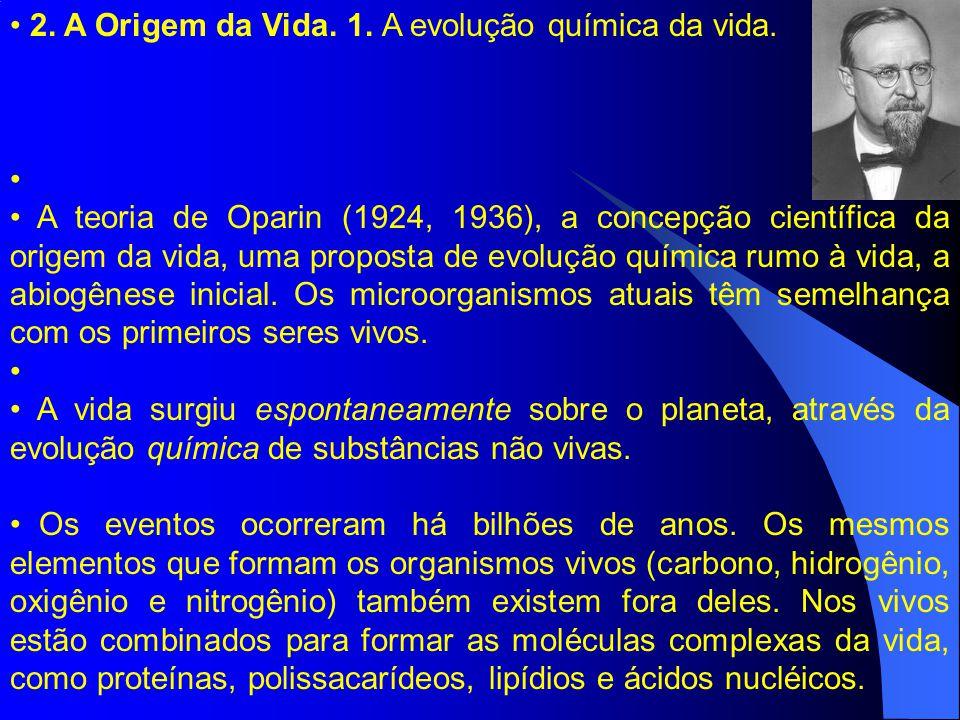 2. A Origem da Vida. 1. A evolução química da vida. A teoria de Oparin (1924, 1936), a concepção científica da origem da vida, uma proposta de evoluçã