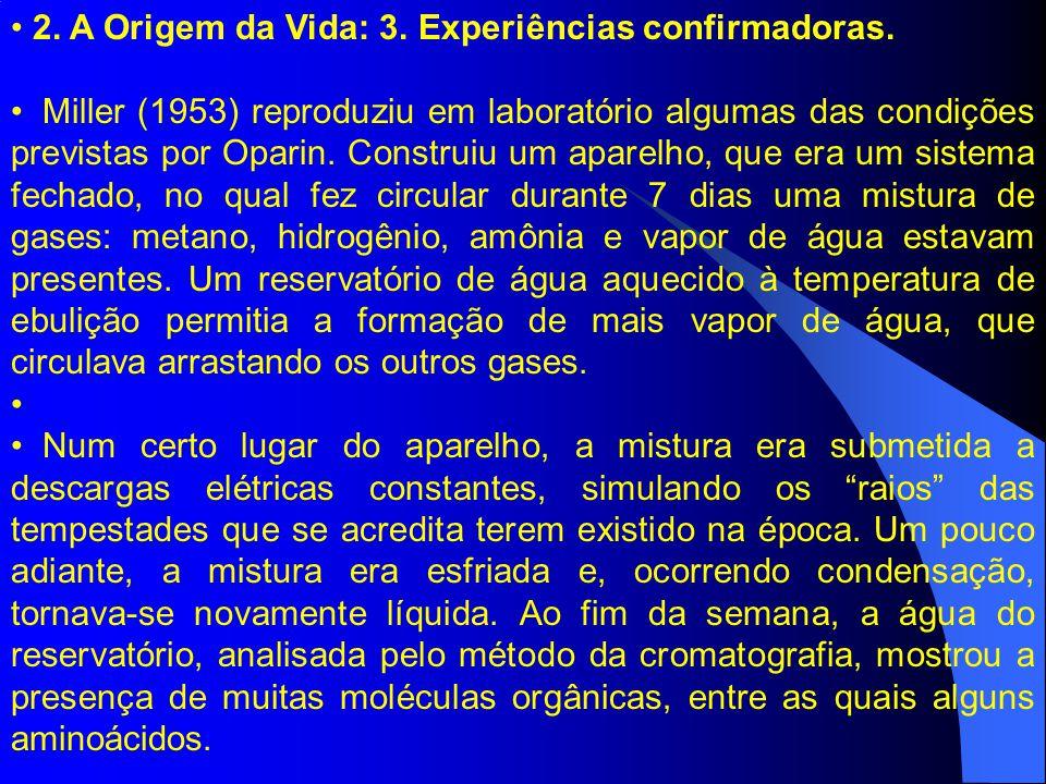 2. A Origem da Vida: 3. Experiências confirmadoras. Miller (1953) reproduziu em laboratório algumas das condições previstas por Oparin. Construiu um a