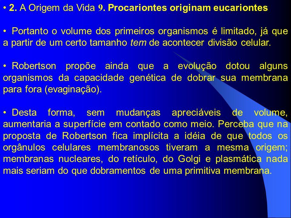 2. A Origem da Vida 9. Procariontes originam eucariontes Portanto o volume dos primeiros organismos é limitado, já que a partir de um certo tamanho te