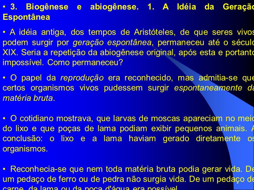 3. Biogênese e abiogênese. 1. A Idéia da Geração Espontânea A idéia antiga, dos tempos de Aristóteles, de que seres vivos podem surgir por geração esp