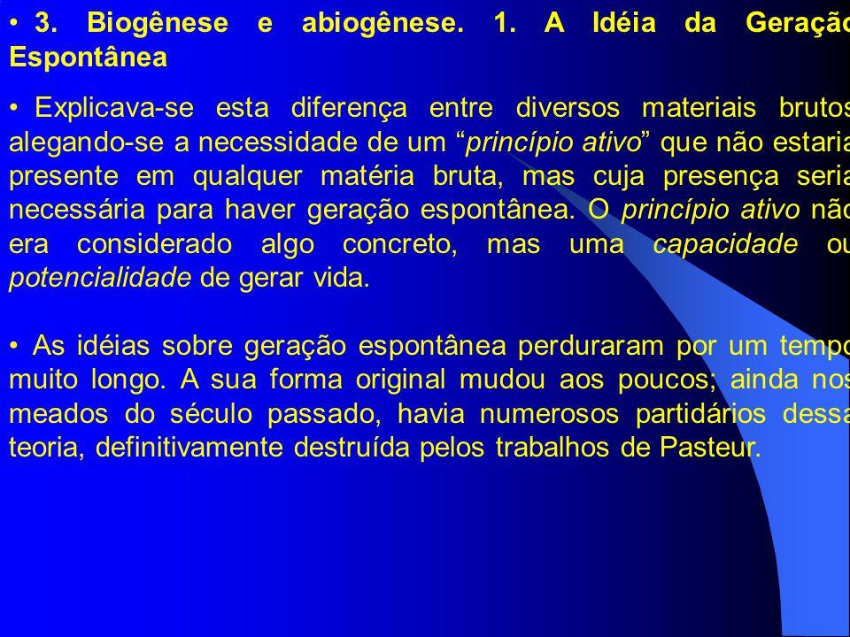 3. Biogênese e abiogênese. 1. A Idéia da Geração Espontânea Explicava-se esta diferença entre diversos materiais brutos alegando-se a necessidade de u