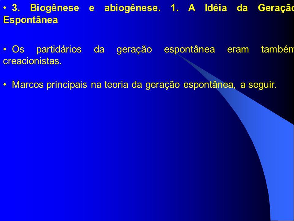 3. Biogênese e abiogênese. 1. A Idéia da Geração Espontânea Os partidários da geração espontânea eram também creacionistas. Marcos principais na teori