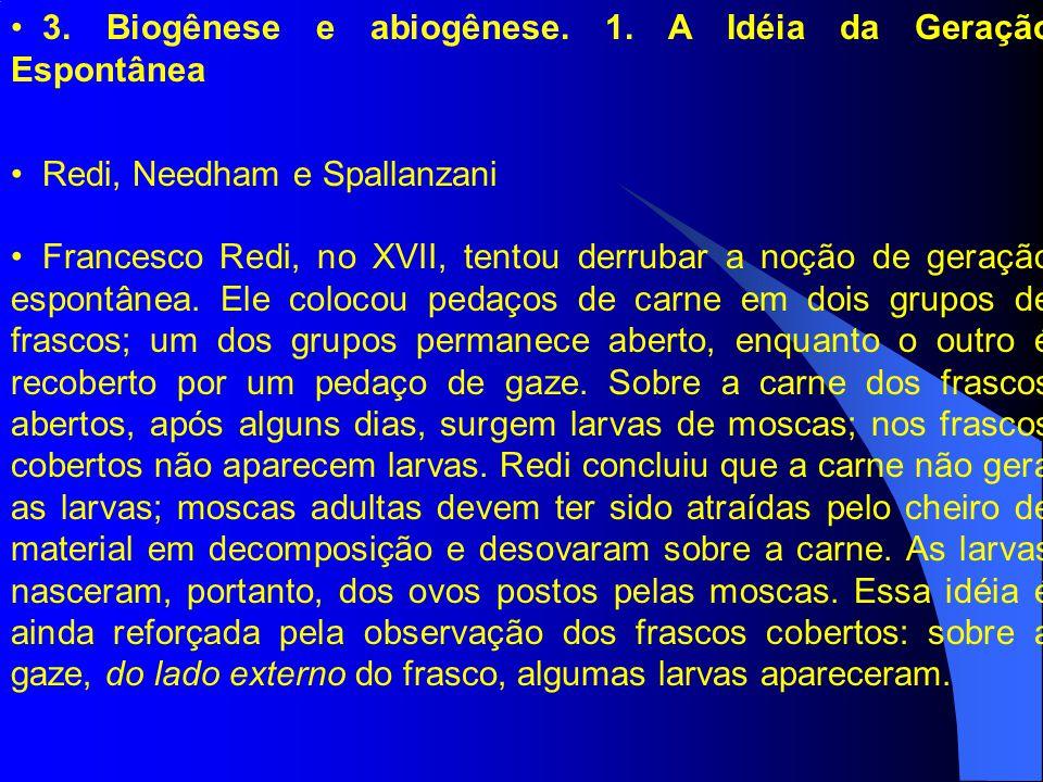 3. Biogênese e abiogênese. 1. A Idéia da Geração Espontânea Redi, Needham e Spallanzani Francesco Redi, no XVII, tentou derrubar a noção de geração es