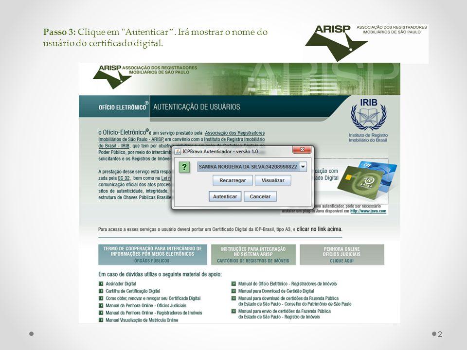 Passo 3: Clique em Autenticar . Irá mostrar o nome do usuário do certificado digital. 2