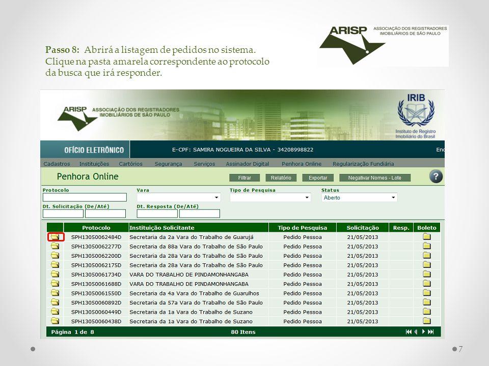Passo 8: Abrirá a listagem de pedidos no sistema.