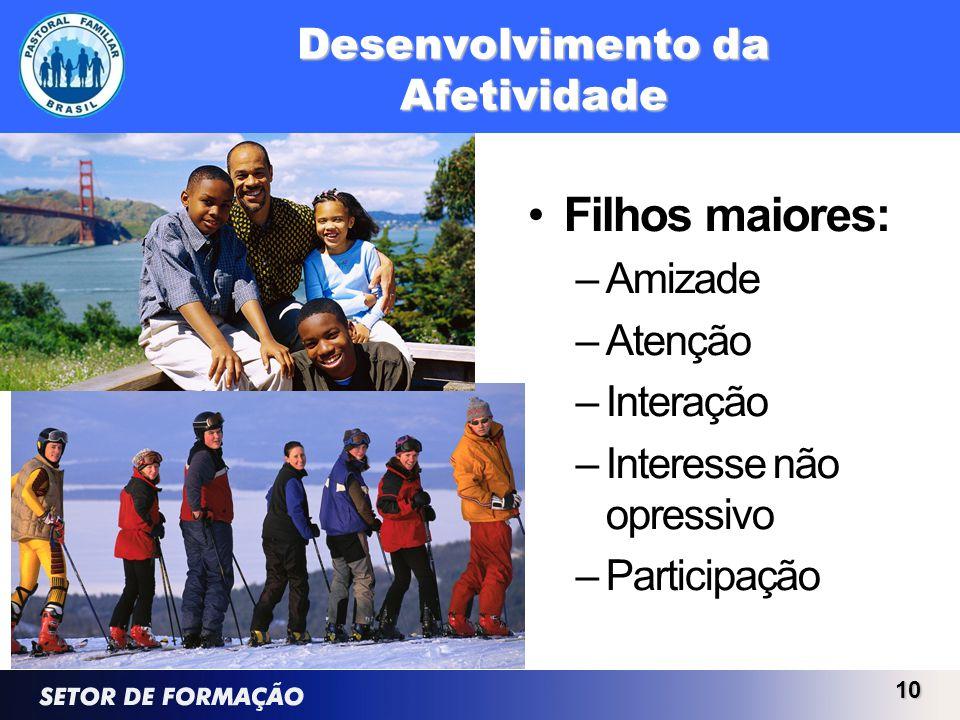 Desenvolvimento da Afetividade Filhos maiores: –Amizade –Atenção –Interação –Interesse não opressivo –Participação 10