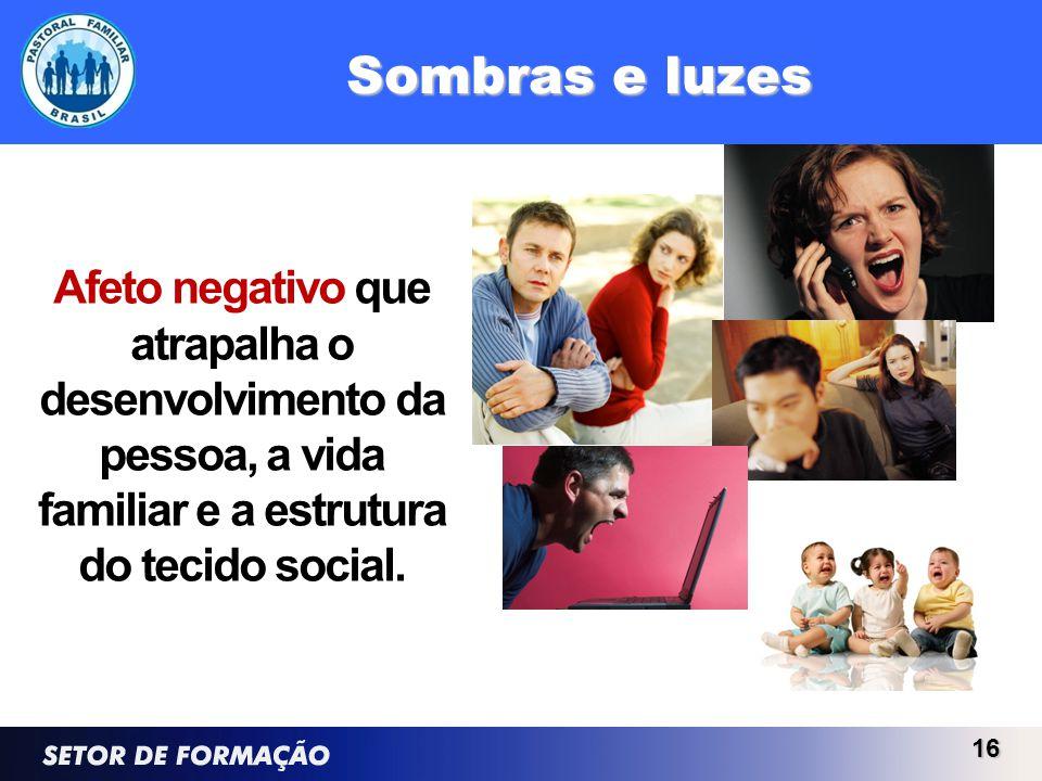 Sombras e luzes Afeto negativo que atrapalha o desenvolvimento da pessoa, a vida familiar e a estrutura do tecido social. 16