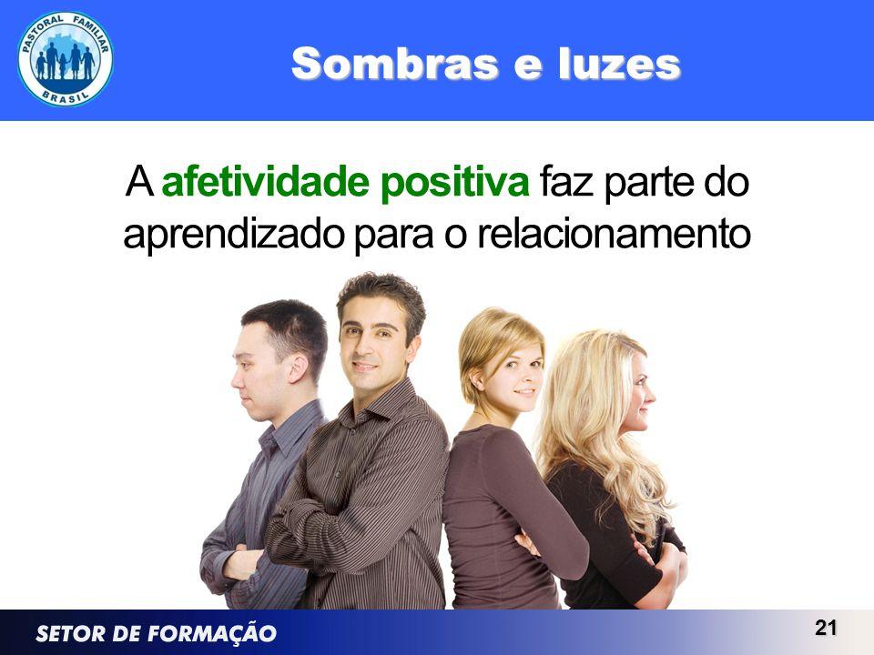 Sombras e luzes 21 A afetividade positiva faz parte do aprendizado para o relacionamento