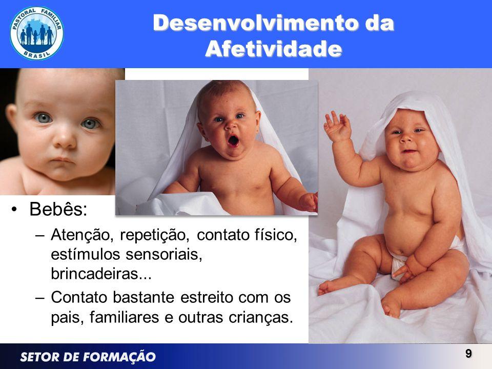 Desenvolvimento da Afetividade Bebês: –Atenção, repetição, contato físico, estímulos sensoriais, brincadeiras... –Contato bastante estreito com os pai