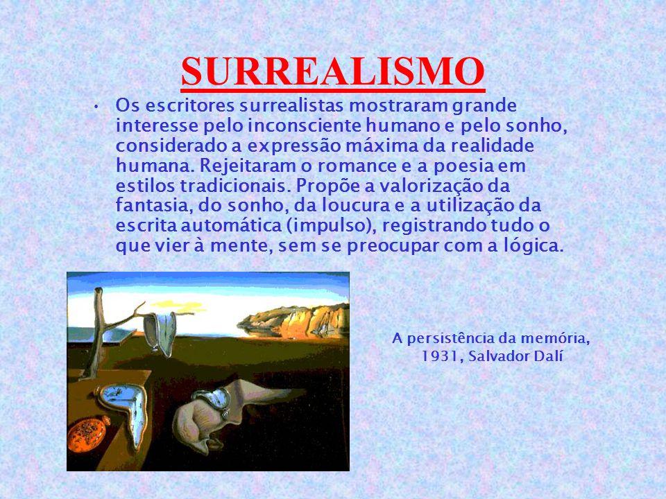 SURREALISMO Os escritores surrealistas mostraram grande interesse pelo inconsciente humano e pelo sonho, considerado a expressão máxima da realidade humana.