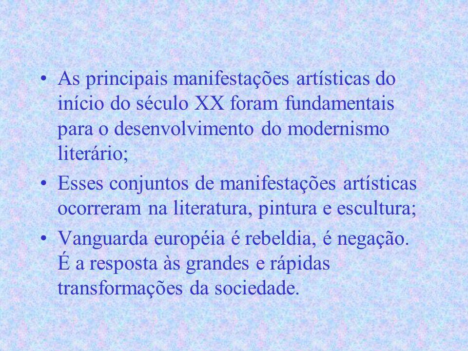 As principais manifestações artísticas do início do século XX foram fundamentais para o desenvolvimento do modernismo literário; Esses conjuntos de manifestações artísticas ocorreram na literatura, pintura e escultura; Vanguarda européia é rebeldia, é negação.