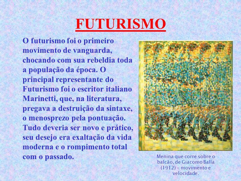 FUTURISMO O futurismo foi o primeiro movimento de vanguarda, chocando com sua rebeldia toda a população da época.
