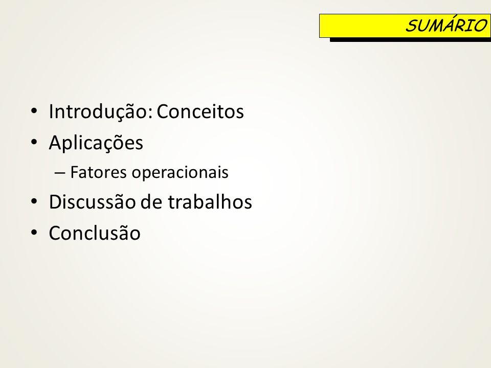 Introdução: Conceitos Aplicações – Fatores operacionais Discussão de trabalhos Conclusão SUMÁRIO