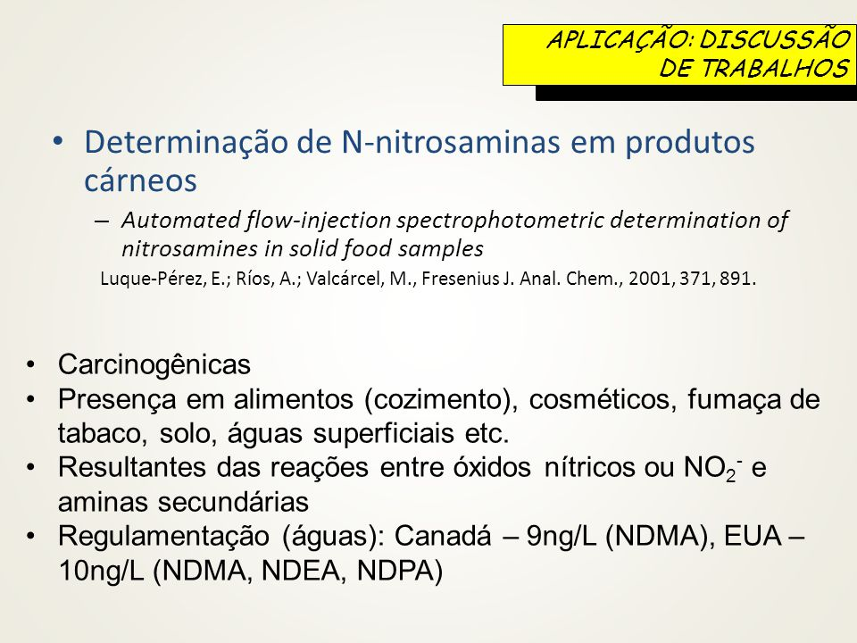 Determinação de N-nitrosaminas em produtos cárneos – Automated flow-injection spectrophotometric determination of nitrosamines in solid food samples Luque-Pérez, E.; Ríos, A.; Valcárcel, M., Fresenius J.