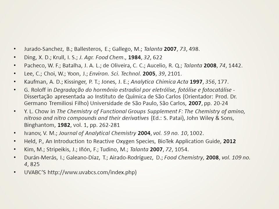 Jurado-Sanchez, B.; Ballesteros, E.; Gallego, M.; Talanta 2007, 73, 498. Ding, X. D.; Krull, I. S.; J. Agr. Food Chem., 1984, 32, 622 Pacheco, W. F.;