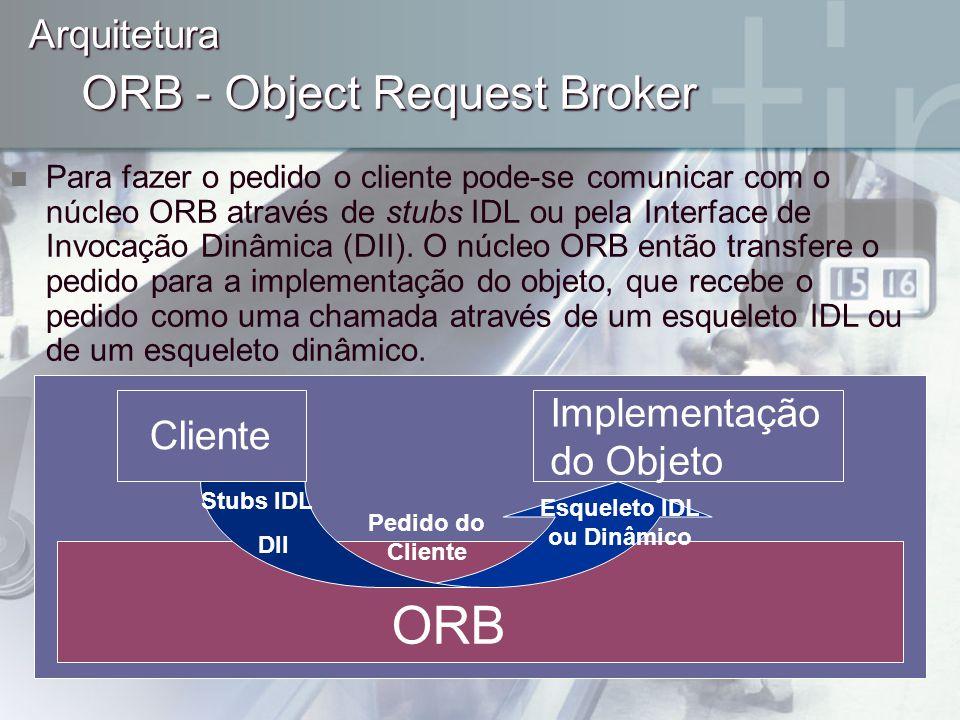 ORB - Object Request Broker Para fazer o pedido o cliente pode-se comunicar com o núcleo ORB através de stubs IDL ou pela Interface de Invocação Dinâm
